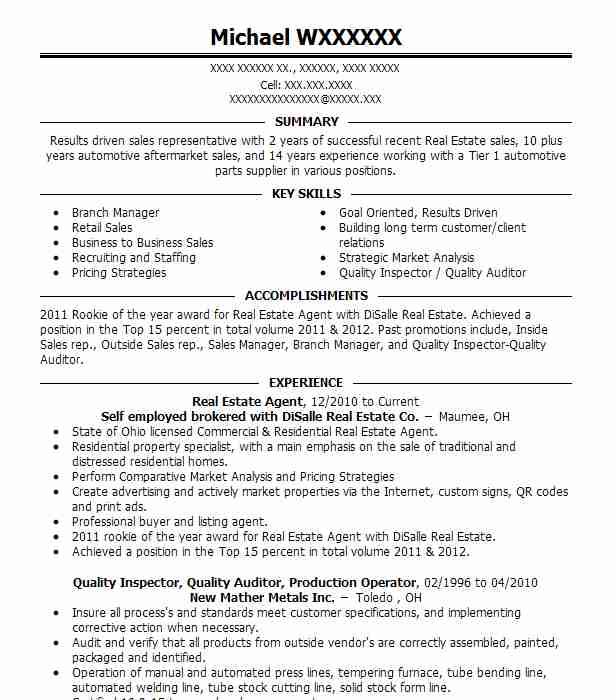 Real Estate Agent Resume Example Self Employed Brokered With