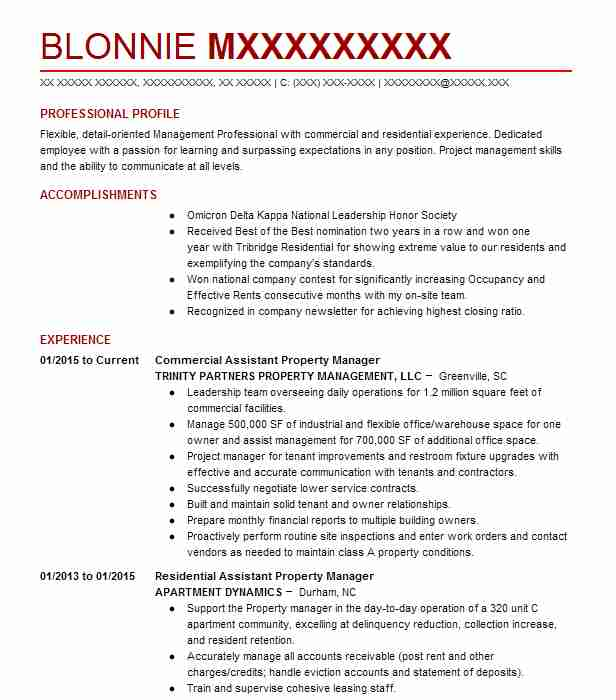 Commercial Assistant Property Manager Resume Example (TRINITY ...