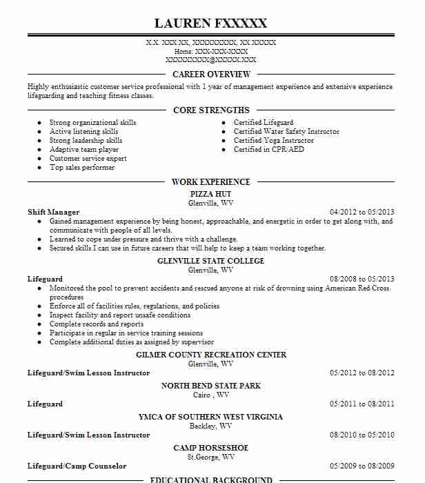 1 amusement parks fitness and recreation resume examples in west