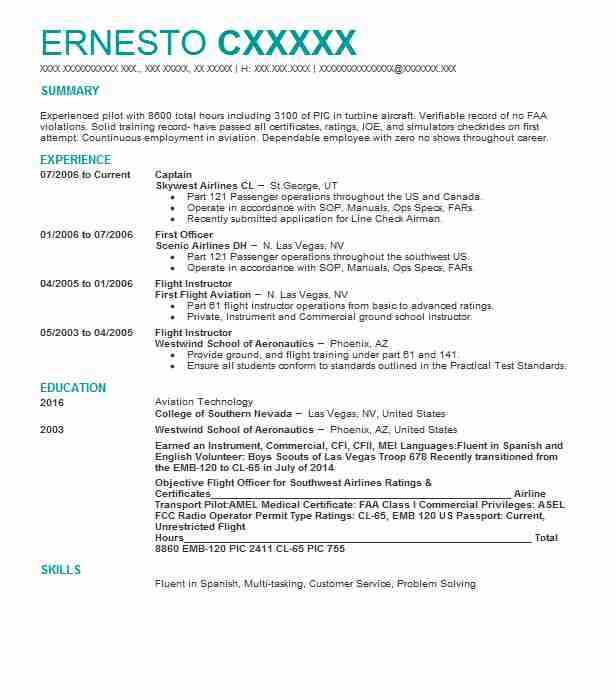 first officer resume example psa airlines