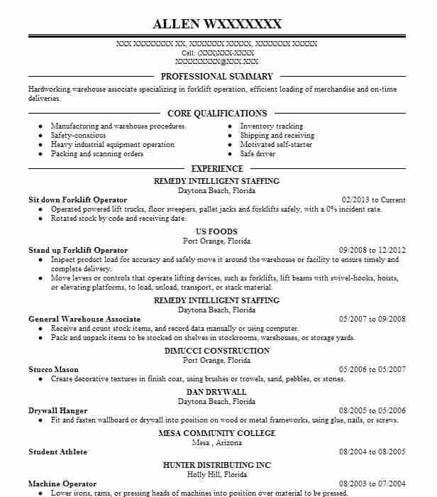 sit down forklift operator resume example woodford