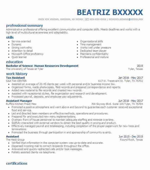 Tax Assistant Resume Sample | Assistant Resumes | LiveCareer