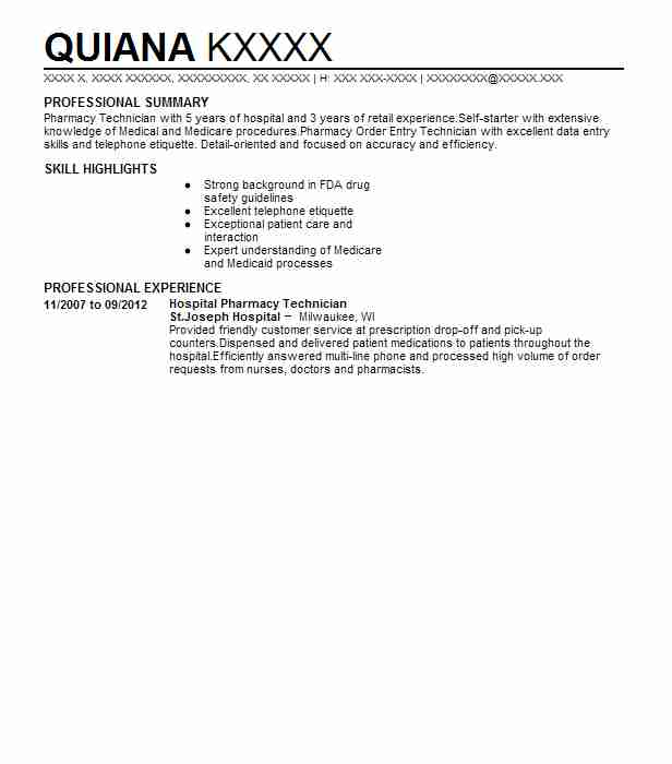 Hospital Pharmacist Resume Sample: Hospital Pharmacy Technician Resume Sample