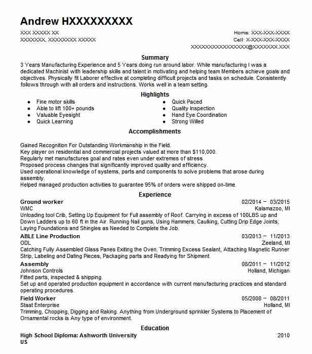 ground worker resume sample