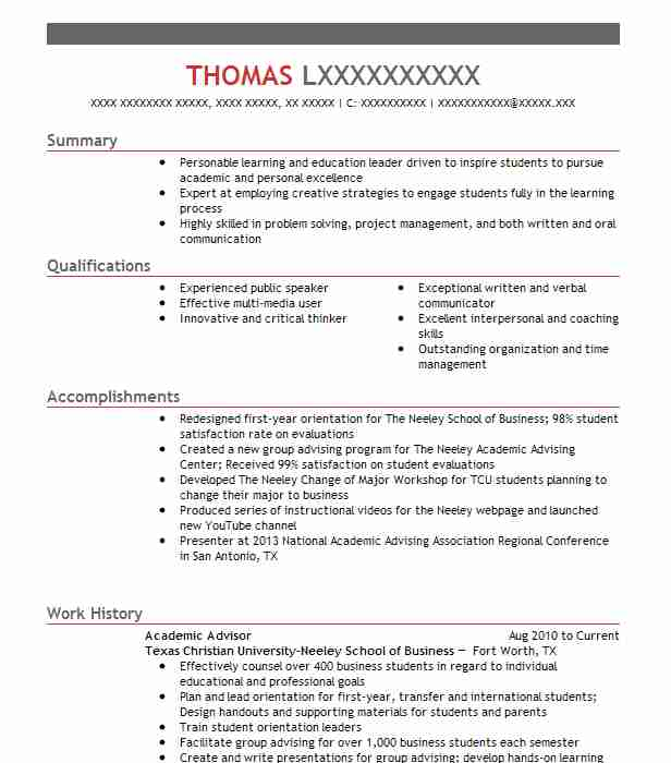 academic advisor resume objectives resume sample