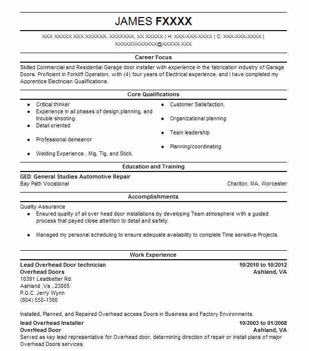 Lead Overhead Door Technician Resume Example Overhead Doors