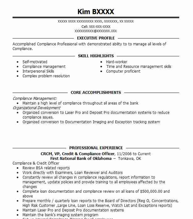 CRCM, VP, Credit & Compliance Officer Resume Example (First National ...