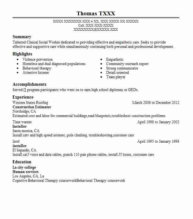 Construction Estimator Resume Sample Resumes Misc