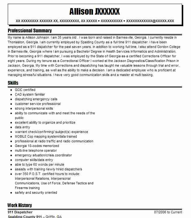 911 Dispatcher Resume Objectives Resume Sample Livecareer