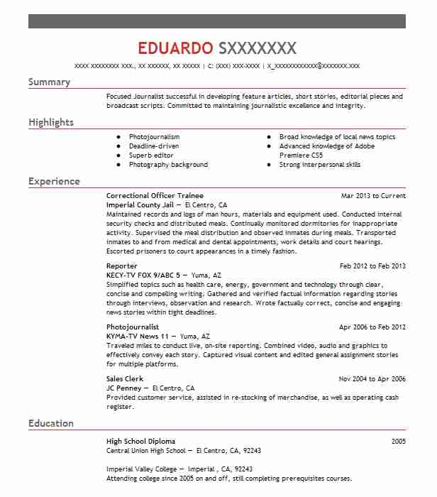 1 resumes matching journalism resume samples in el centro california journalist resume sample - Court Reporter Resume Samples