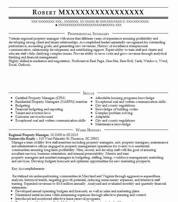 regional property manager resume example tandem property