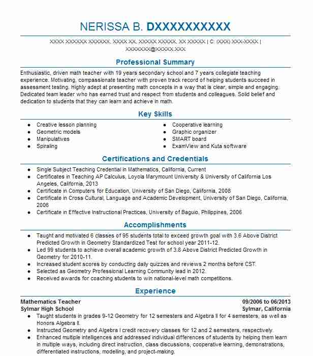 mathematics lecturer resume example the college of charleston