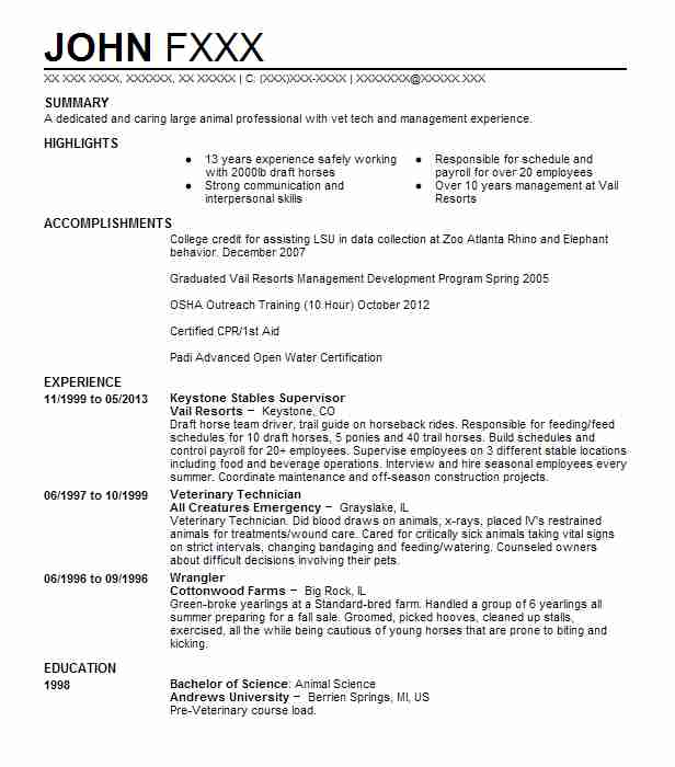 1 resumes matching natural resources and agriculture resume samples in dillon colorado - Animal Science Resume Templates