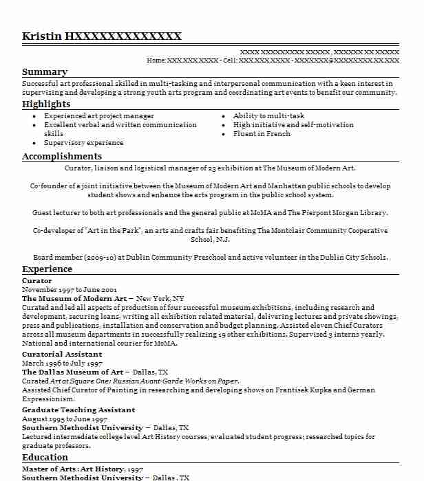 museum manager  curator resume example museum of art