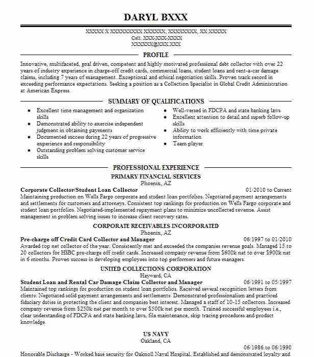1 resumes matching collections resume samples in goodyear arizona - Loan Collector Sample Resume
