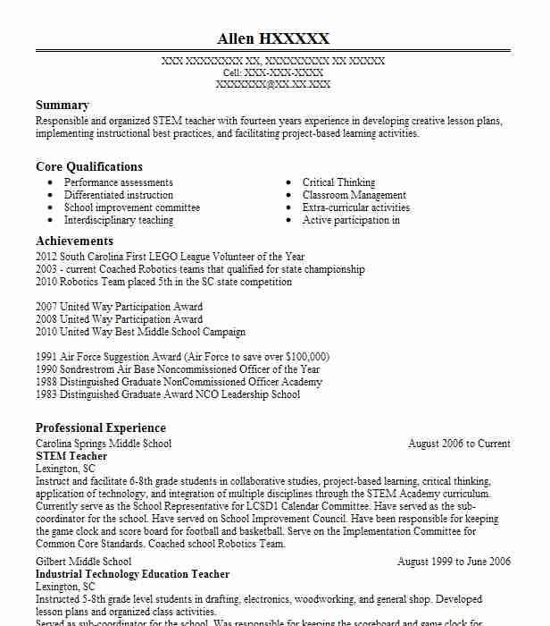 technology education  stem teacher resume example