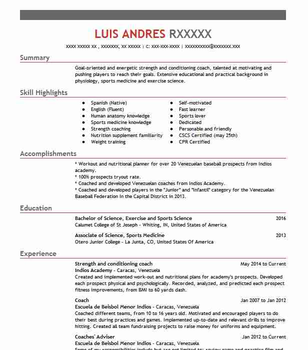 Strength And Conditioning Coach Resume Sample | LiveCareer