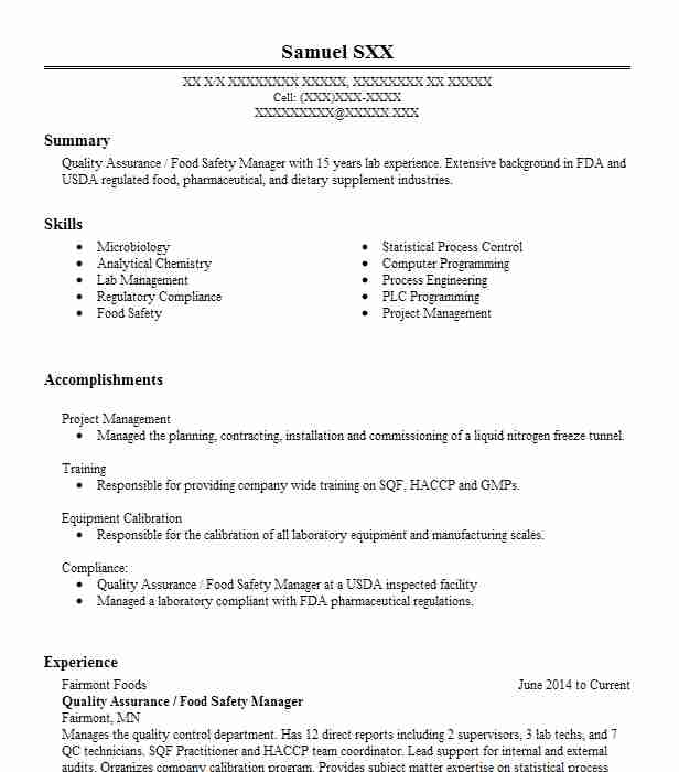 Quality Assurance / Food Safety Manager Resume Example ...