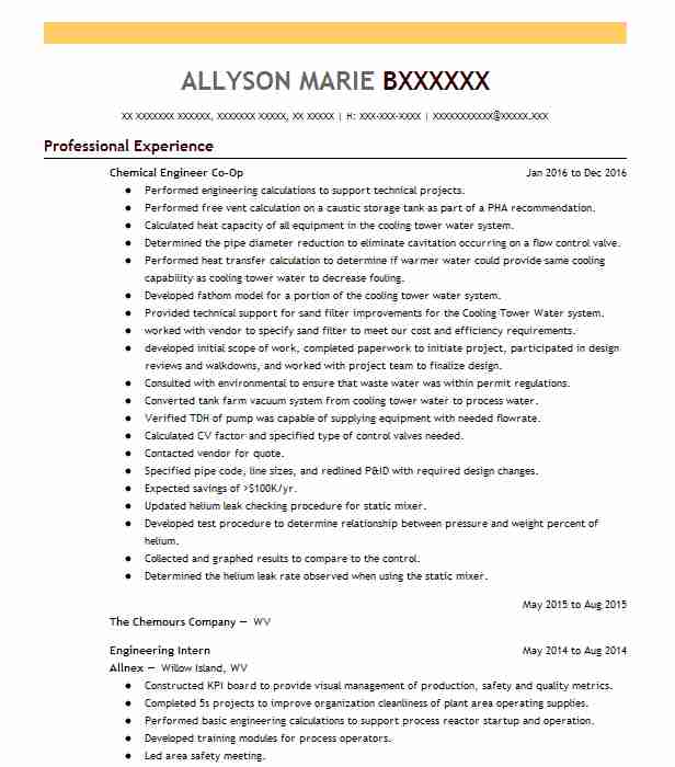 chemical engineering co op resume example michelin