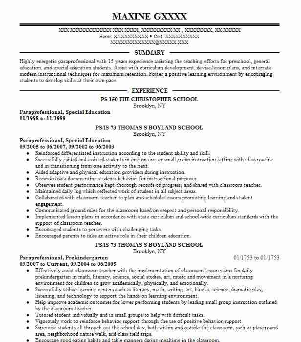 Paraprofessional Special Education Resume Example PS 150 The Christopher School