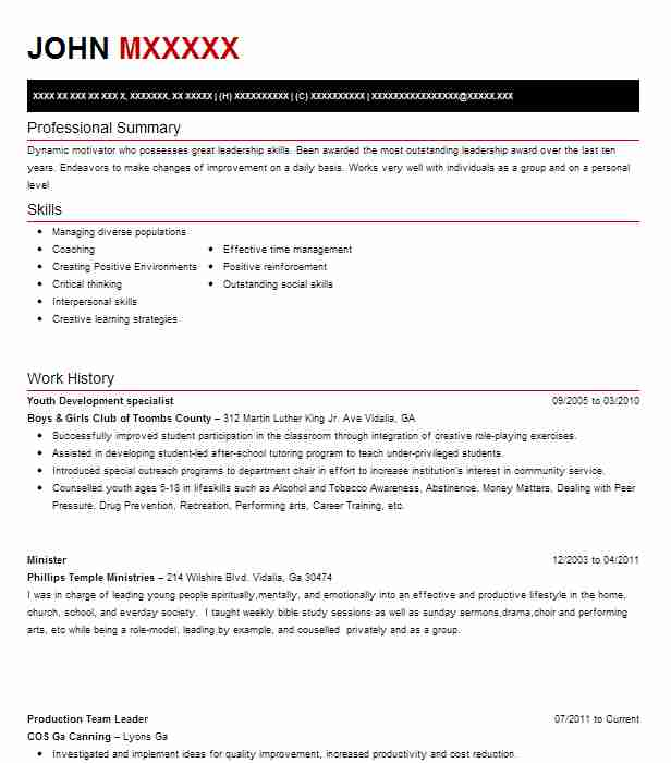 Youth Development Specialist Resume Example Boys & Girls