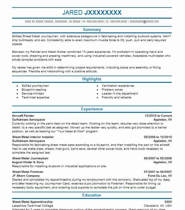 aircraft painter resume sample
