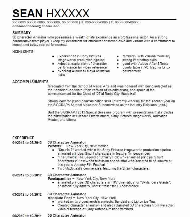 3D Character Artist Resume Example Zynga - San Francisco ...
