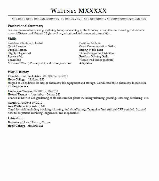 Chemistry Lab Technician Resume Sample Livecareer