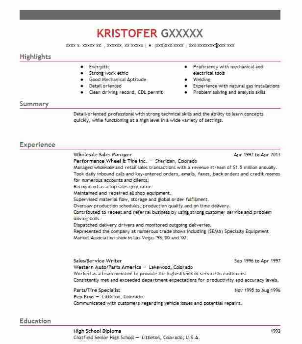 Wholesale Sales Manager Resume Example Genuine Parts