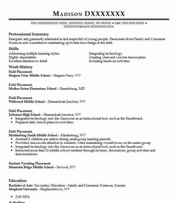 field school resume example georgia southern university