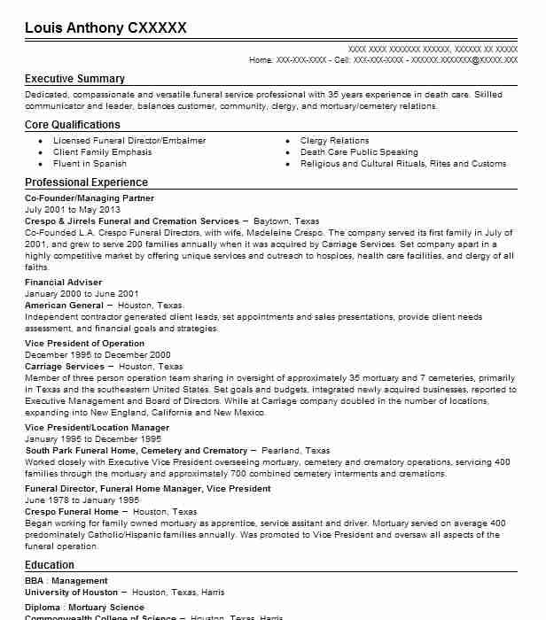 2 resumes matching funeral services resume samples in tucson arizona - Resume For Mortuary Science