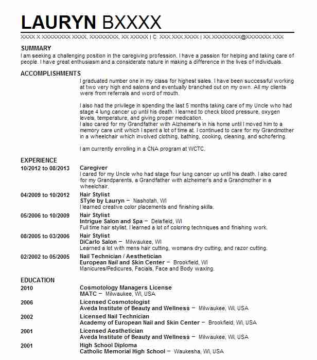 Caregiver Resume Example Style By Lauryn Nashotah Wisconsin
