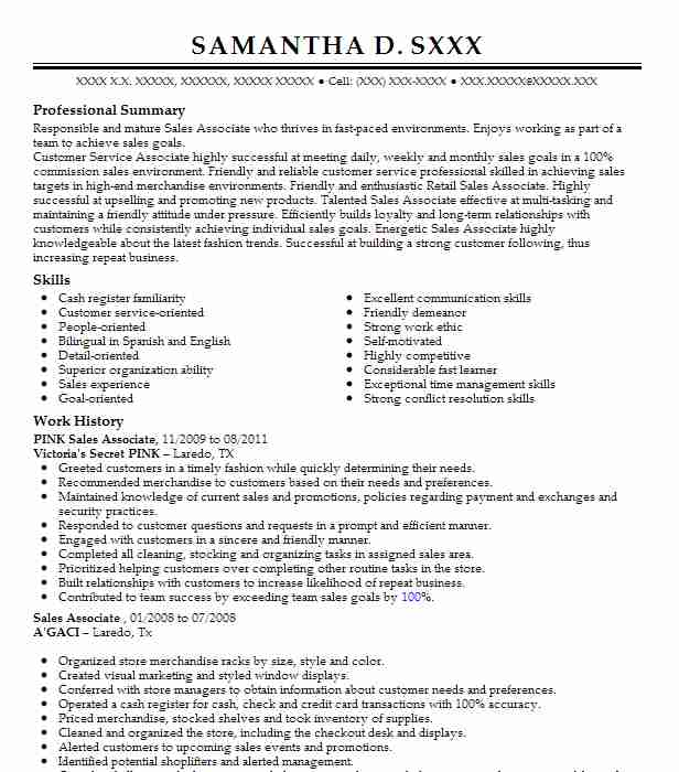 pink sales associate resume example victoria u0026 39 s secret
