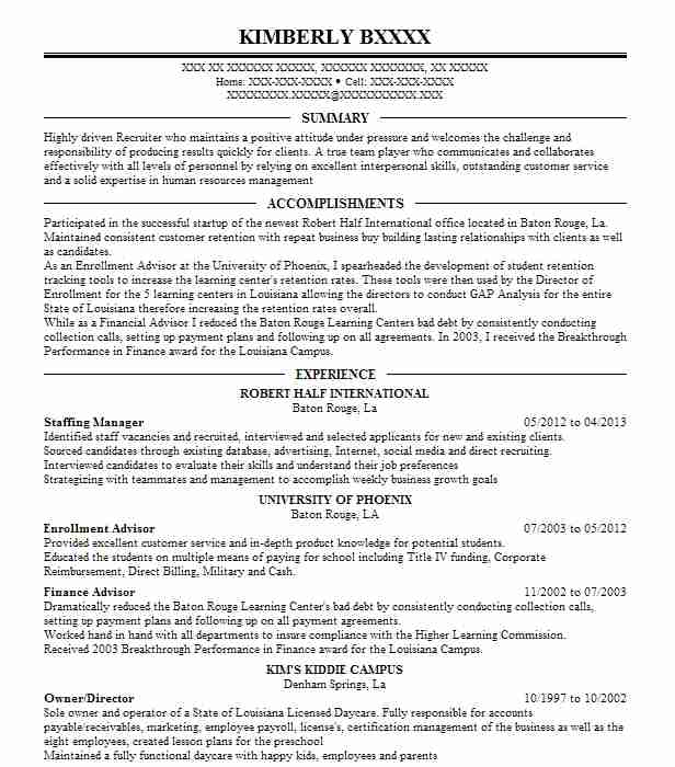 staffing manager resume example quality recruiting