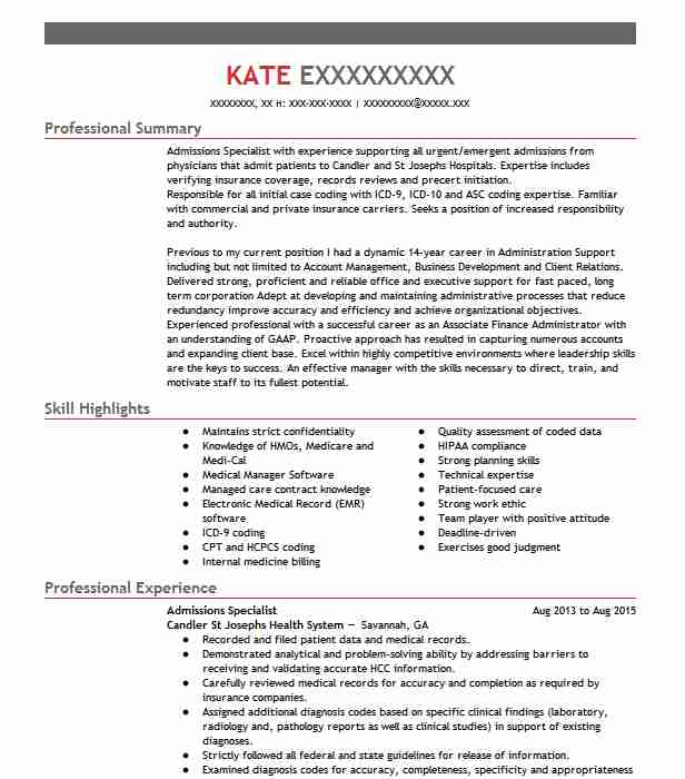 admissions specialist resume sample specialist resumes livecareer