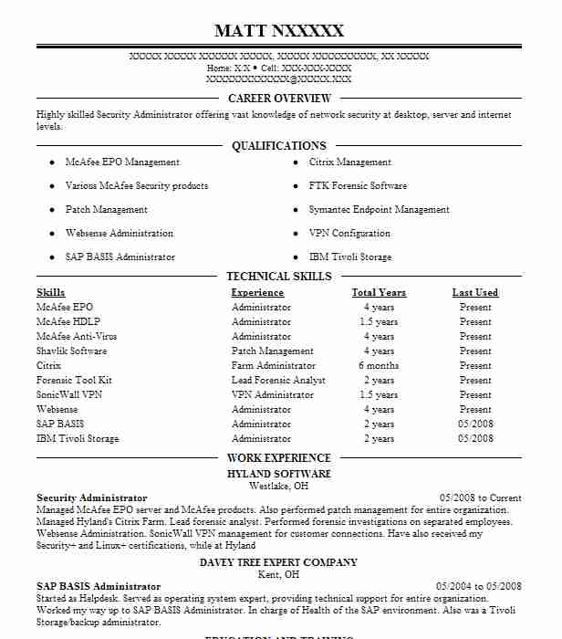 security administrator resume example franklin county data