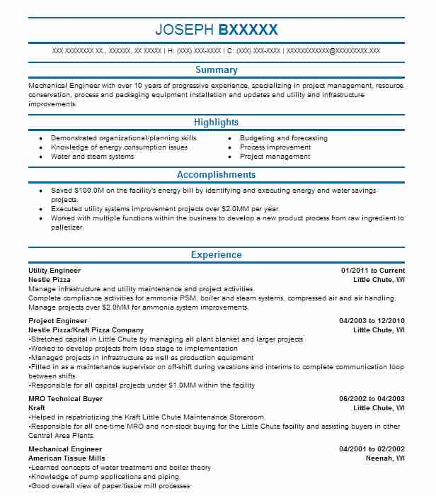 Utility Engineer Resume Sample Engineering Resumes Livecareer