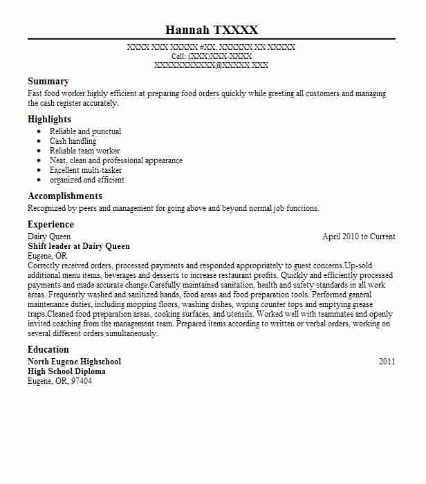 dairy queen cashier resume example dairy queen