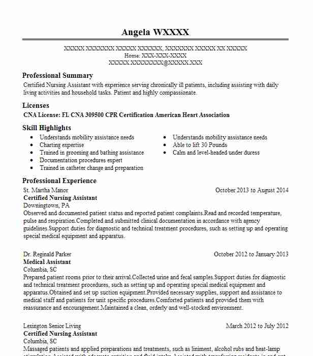 Certified Nursing Assistant Resume Example St Martha Manor