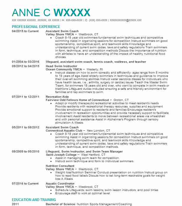Assistant Swim Coach Resume Sample