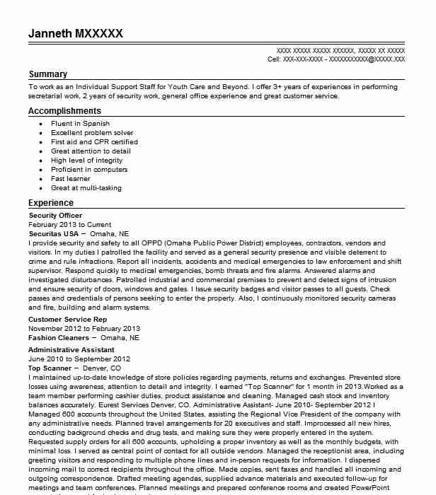 best security officer resume example