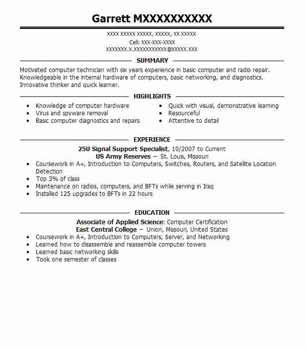 25u Signal Support Specialist Resume Example Us Army