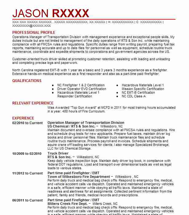 Operation Manager Of Transportation Division Resume Example (US ...