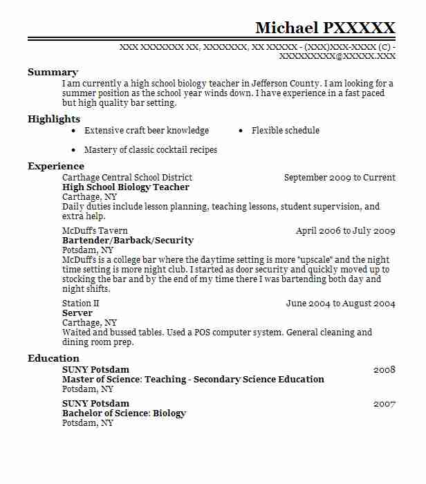 Biology Degree Resume Examples: High School Biology Teacher Resume Sample