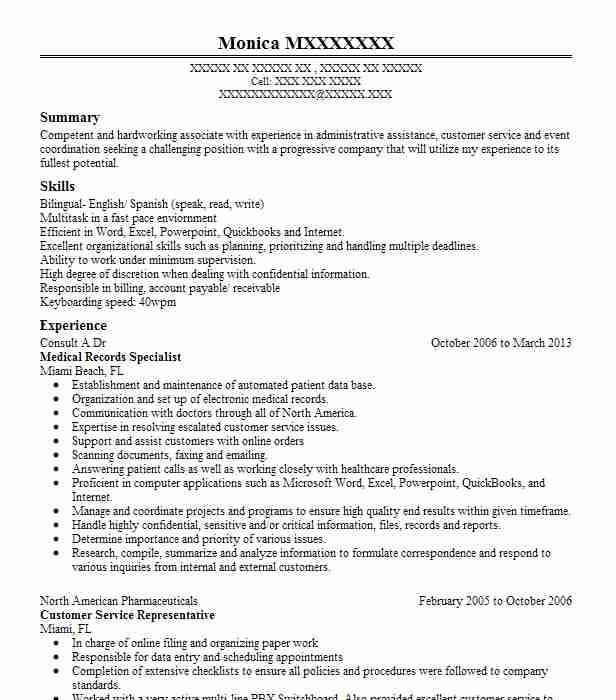 13 Clinical Experience On Resume: Medical Records Specialist Resume Sample