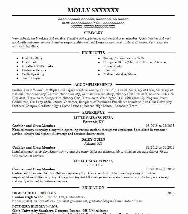 crew member  cashier resume example dunkin donuts