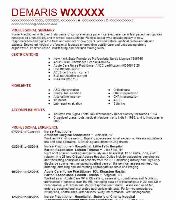 Nurse Practitioner Resume Example Amherst Surgical Associates