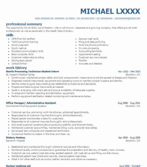 sterile processing technician resume example department of