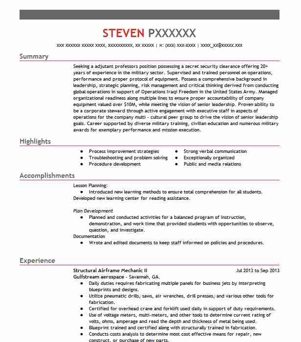 Structural Mechanic Resume Example Pds Boeing Aircraft
