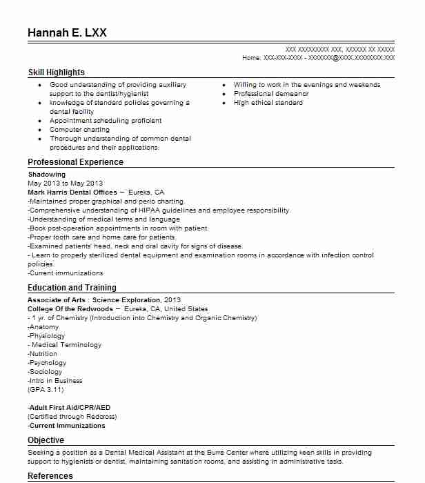 Dental Shadowing Resume Example American Family Dentistry